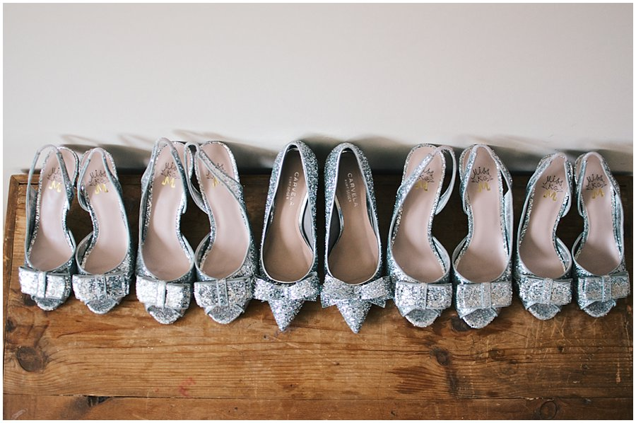 bride's and bridesmaids' shoes lined up