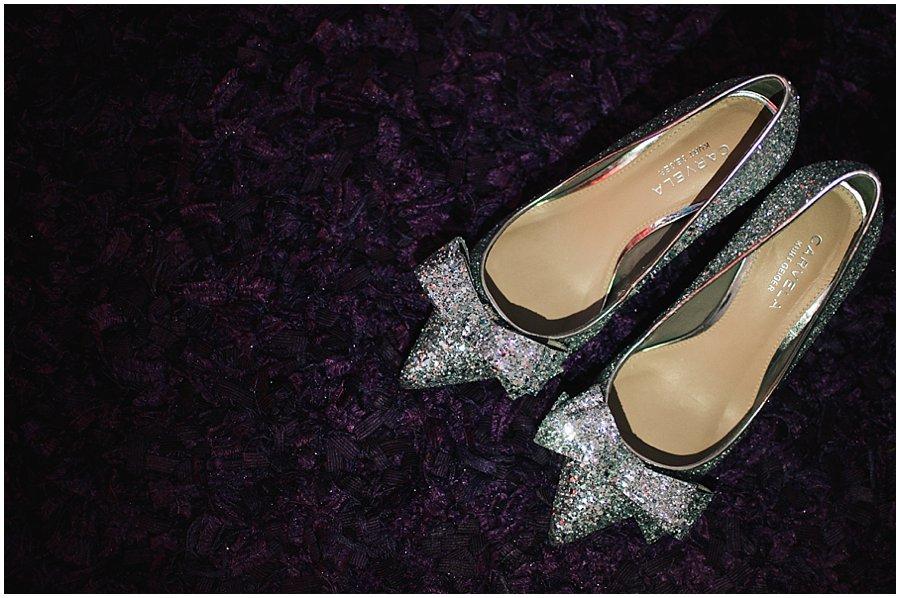 bride's sparkly shoes