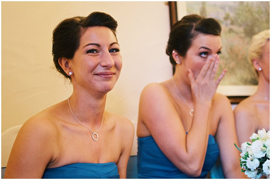 bridesmaids crying after ceremony at Crondon Park