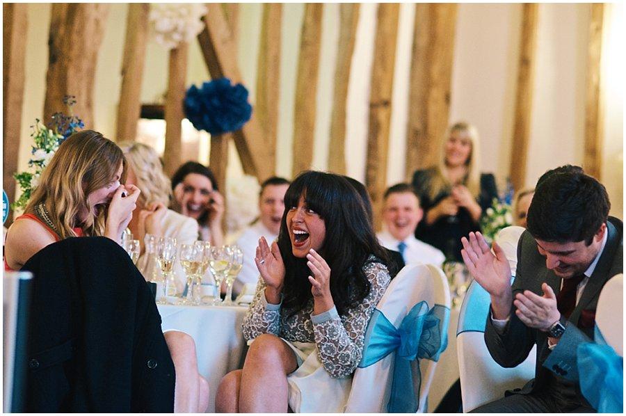 guests laughing at Crondon Park Wedding