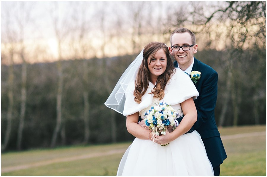 wedding portrait at dusk at Crondon Park