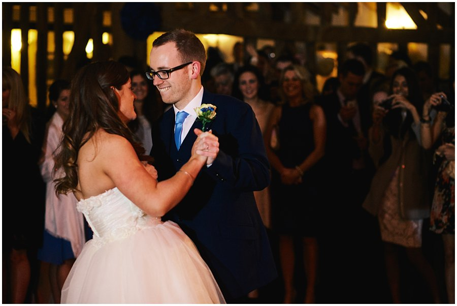 bride and groom's first dance at Crondon Park wedding