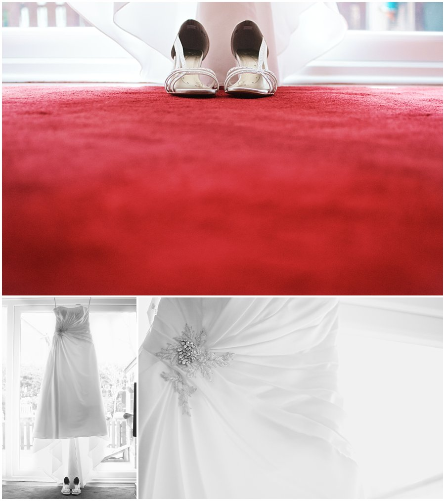 wedding dress and wedding shoes with red carpet