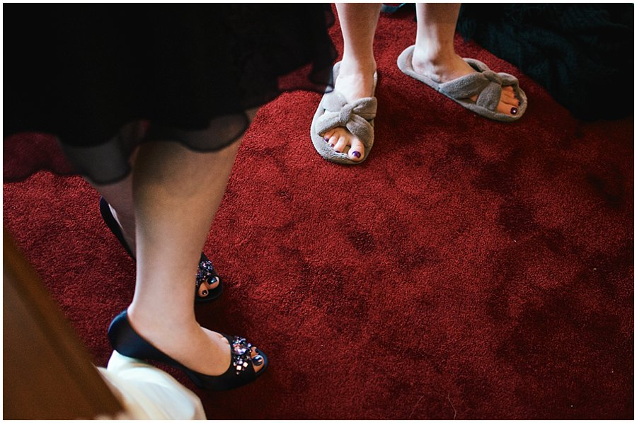 bridesmaids wearing shoes and slippers