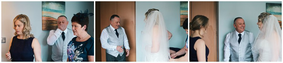 bride's father seeing her in her dress for the first time