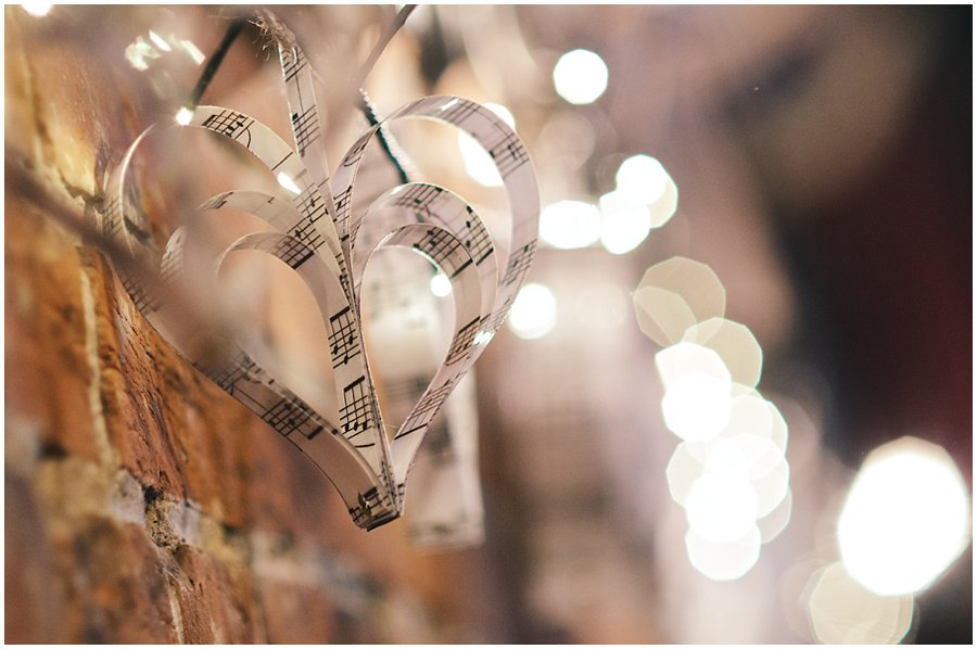 wedding details with bokeh fairy lights