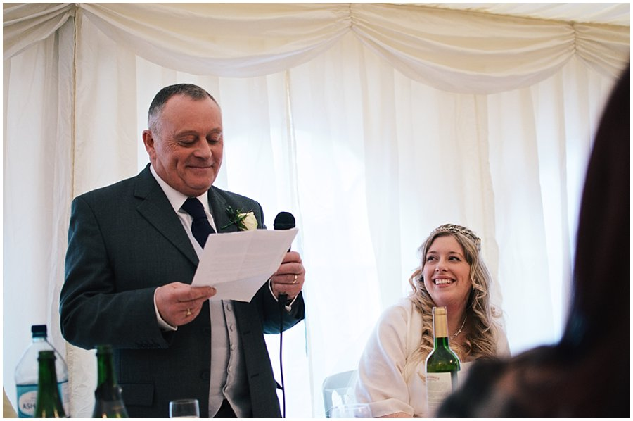 father of the bride making his speech in the marquee at red brick barn
