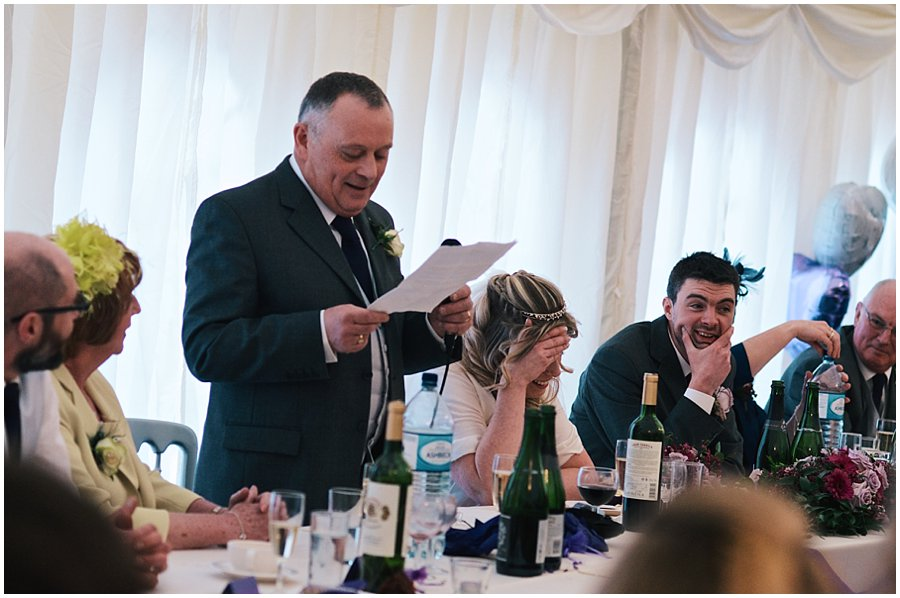 father of the bride making his speech at red brick barn