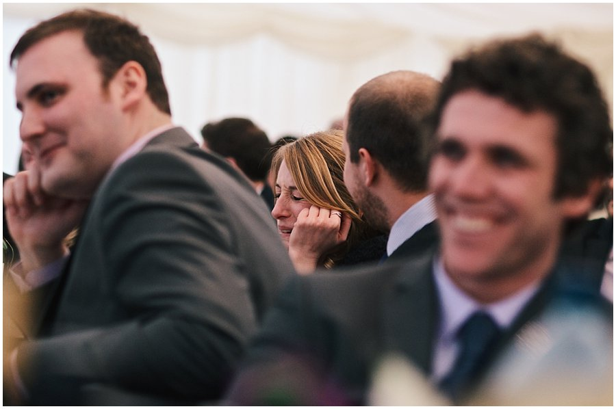 sister of the bride cringing at her father's speech