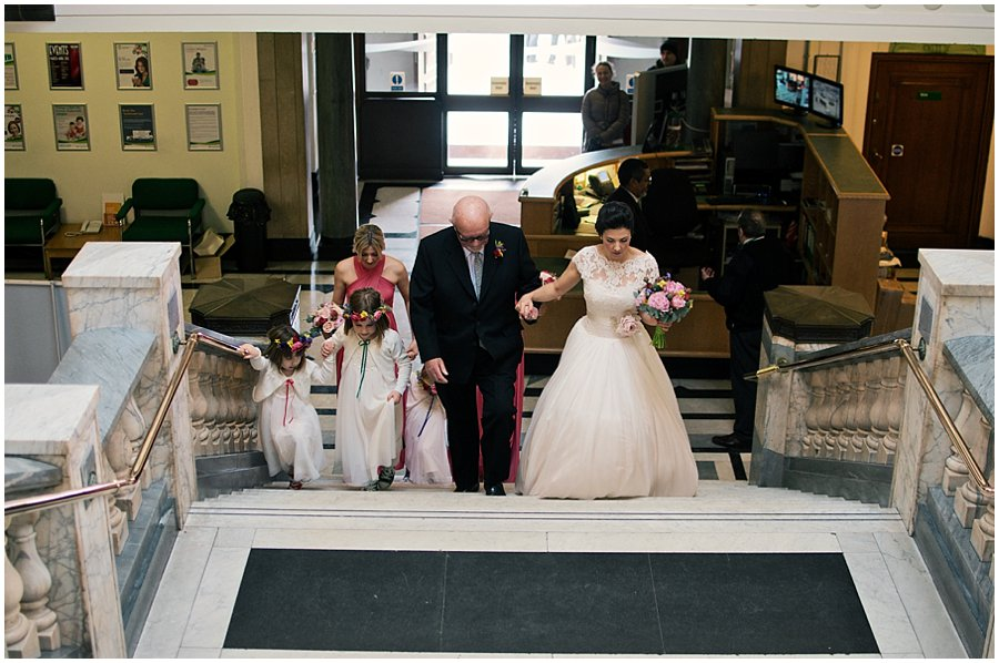 Bridal party arriving at Islington Town Hall
