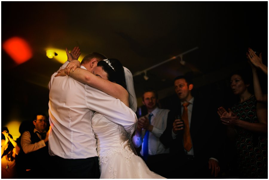 bride and groom dancing at hyde barn wedding