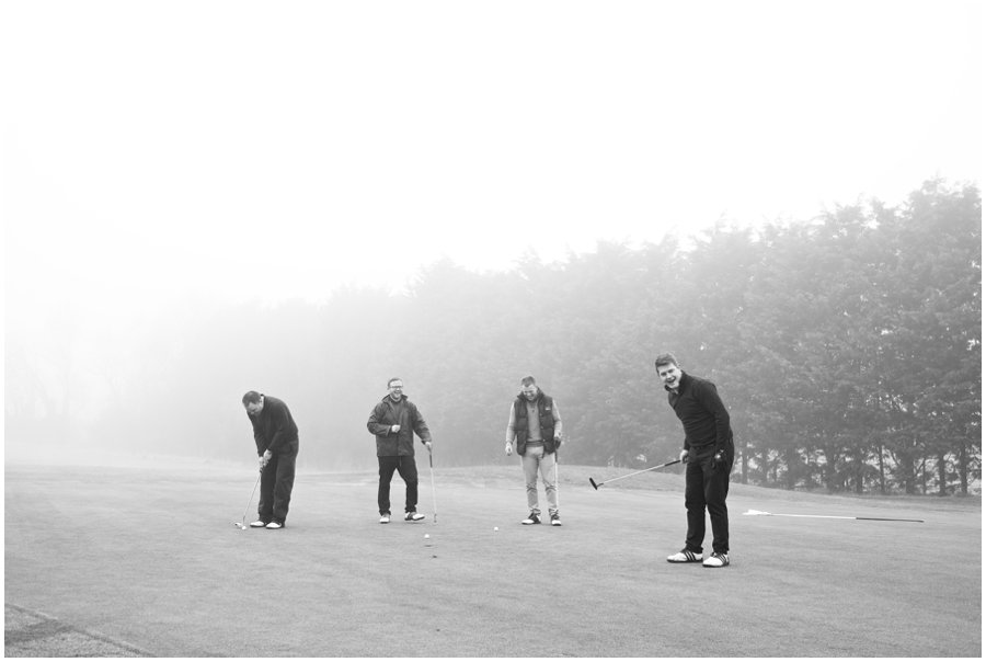 Groomsmen playing golf at Lords Golf Club