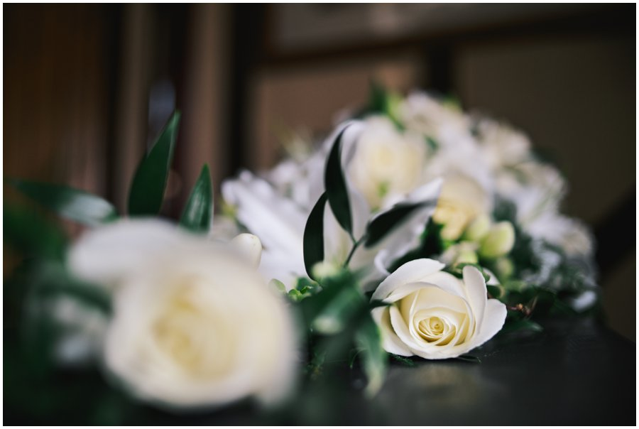 white rose wedding flowers