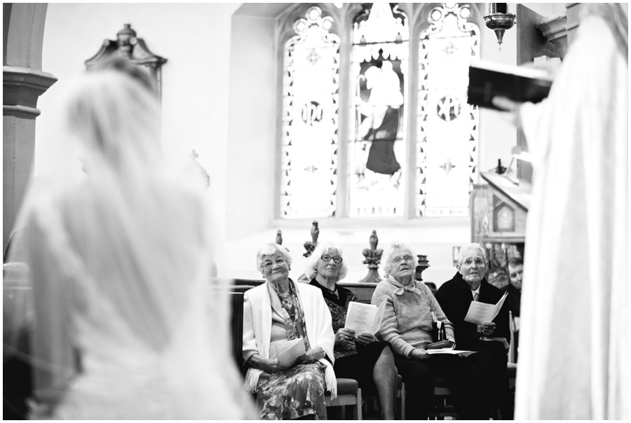Grandparents smiling at wedding