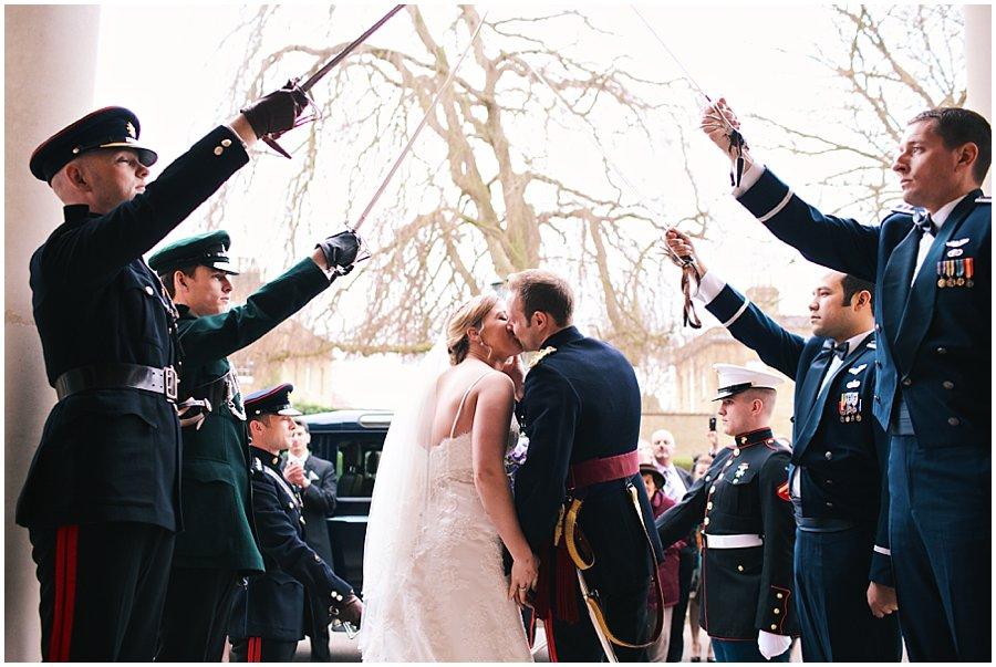 Kiss under Saber arch at Sandhurst