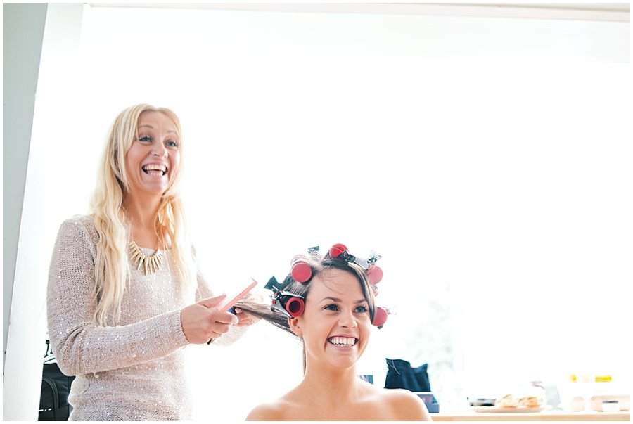Bridal preparations for Essex wedding
