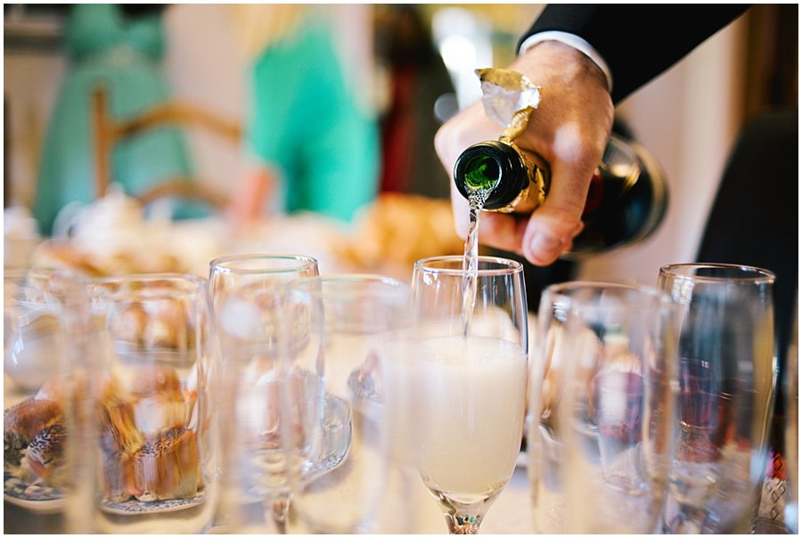 Wedding champagne being poured