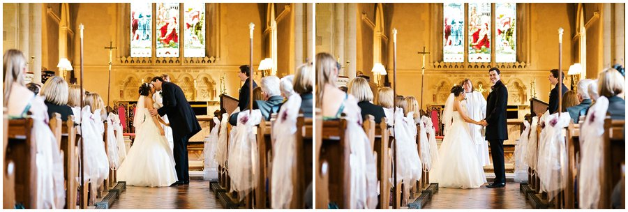 First kiss at East Hanningfield Church Wedding