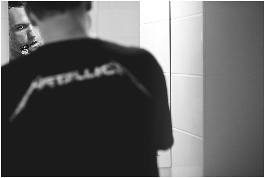 groom wearing Metallica t-shirt
