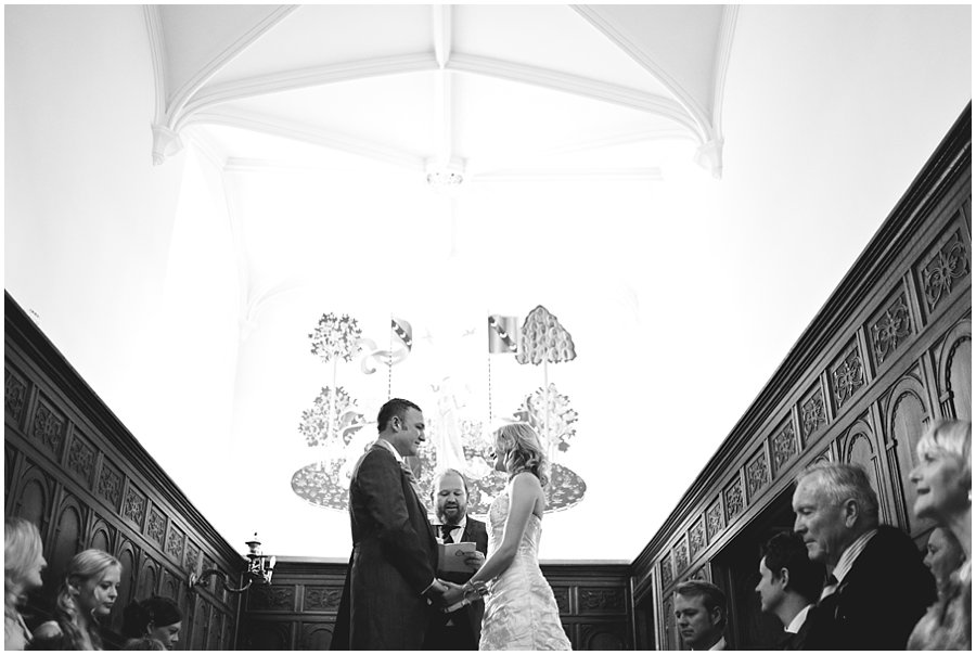 Wedding in the long corridor at Stoneleigh Abbey