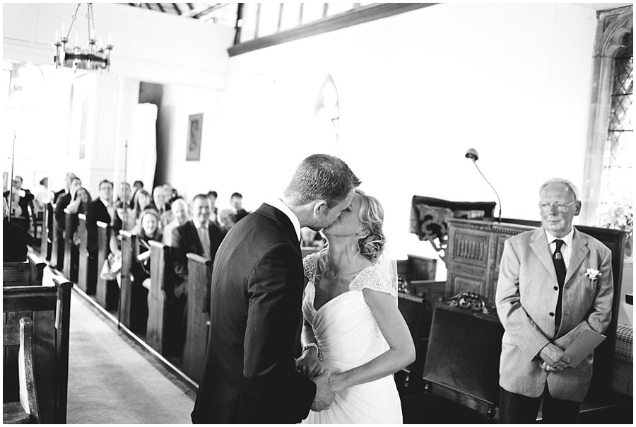 first kiss at Essex Church Wedding
