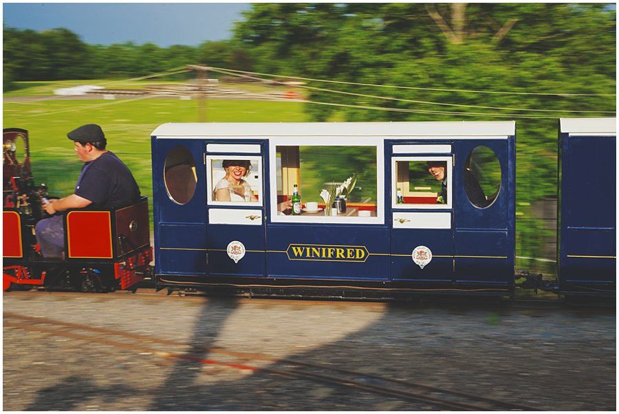 Bride and Groom in miniature steam train