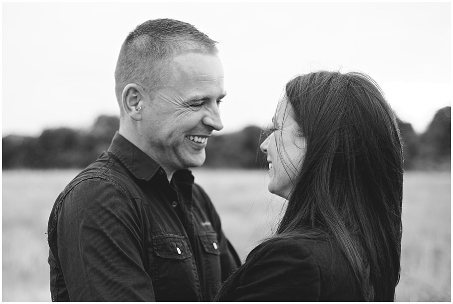 couple laughing on their engagement shoot at shoebury garrison
