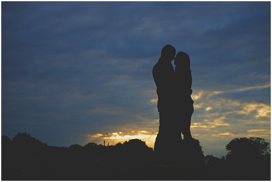 sillhouette couple portrait from an engagement shoot at shoebury garrison