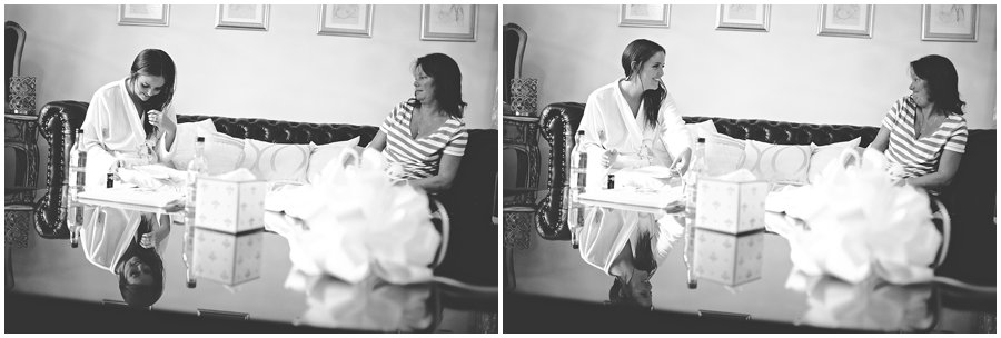 a moment between the bride and her mum at Woodhall Manor