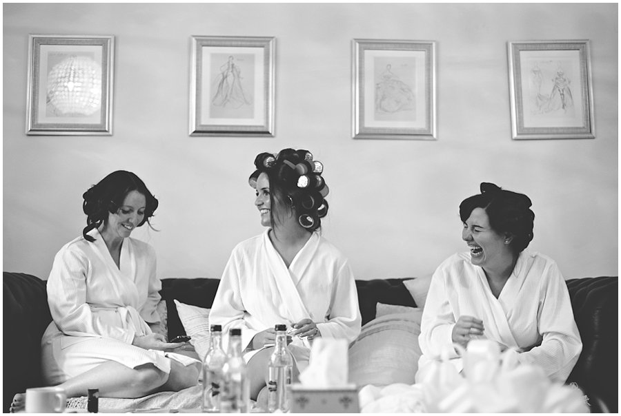 Bride and her bridesmaids at Woodhall Manor