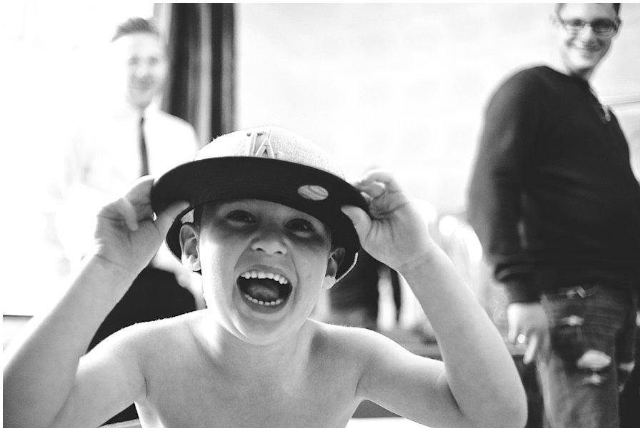 boy laughing at Woodhall Manor wedding