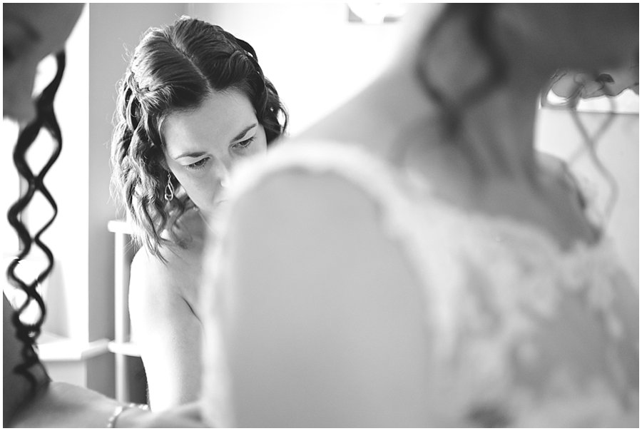bride getting ready for wedding at Ye Olde Plough House