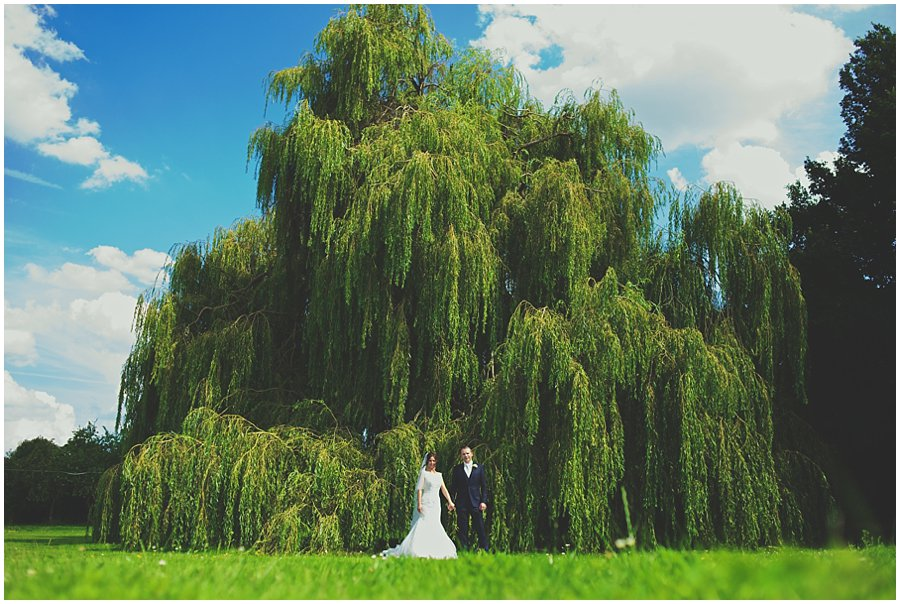 bride and groom in front of willow tree