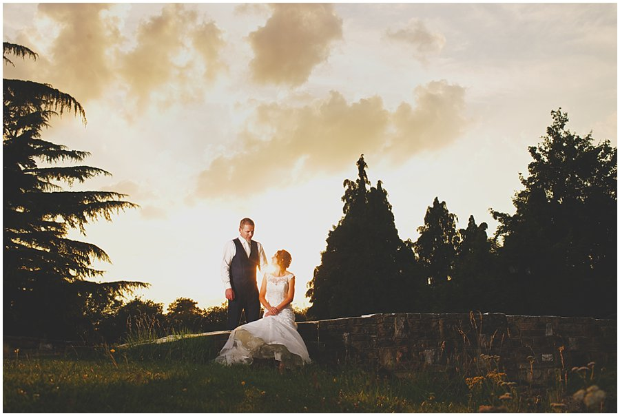 bride and groom at sunset at Ye Olde Plough House