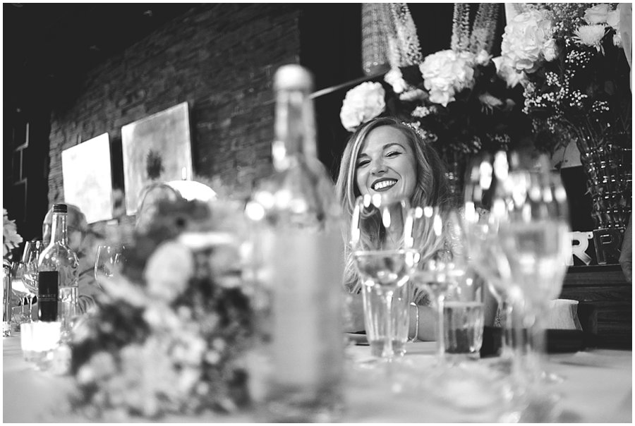 bride smiling during speeches at the century club