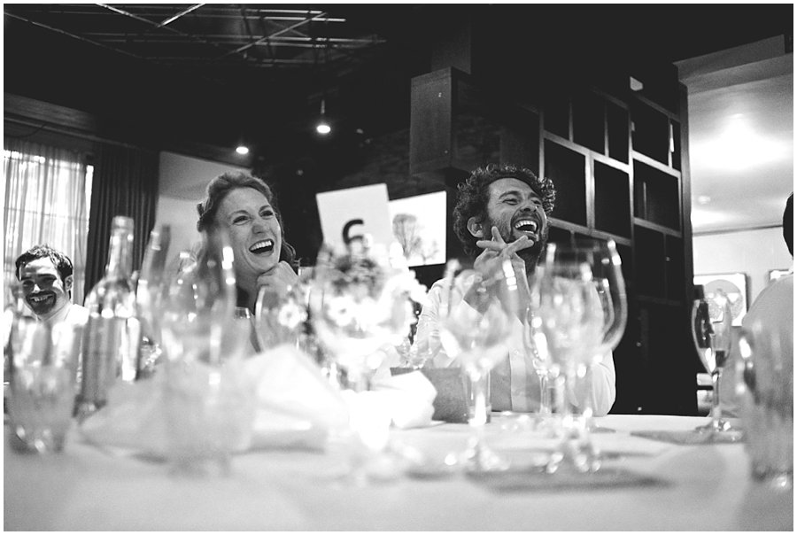 guests laughing during speeches at Century Club wedding