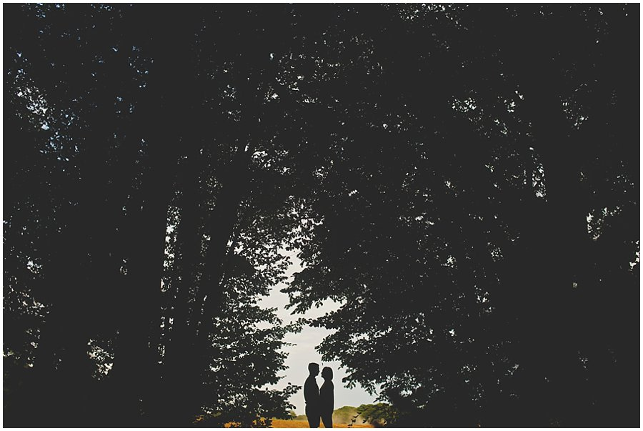 Couple silhouetted in the woods