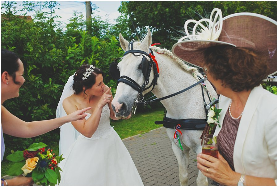 bride with her horse
