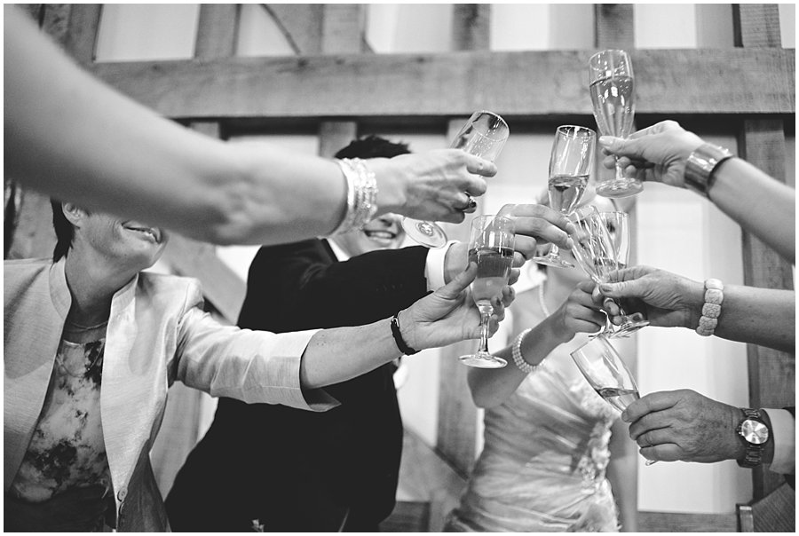 champagne toasts at Gate Street Barn
