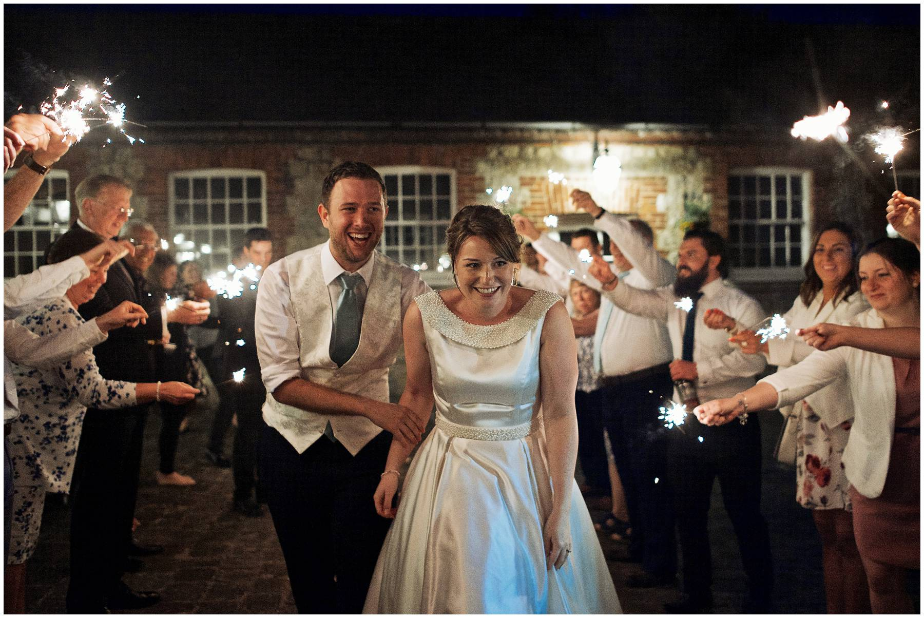 Sparkler exit at Kent Secret Garden Wedding