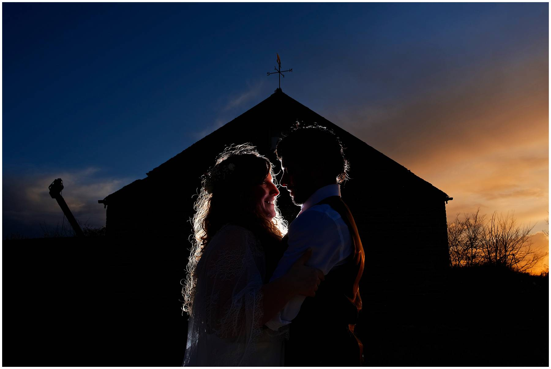 Sunset portrait at Reid Rooms Wedding