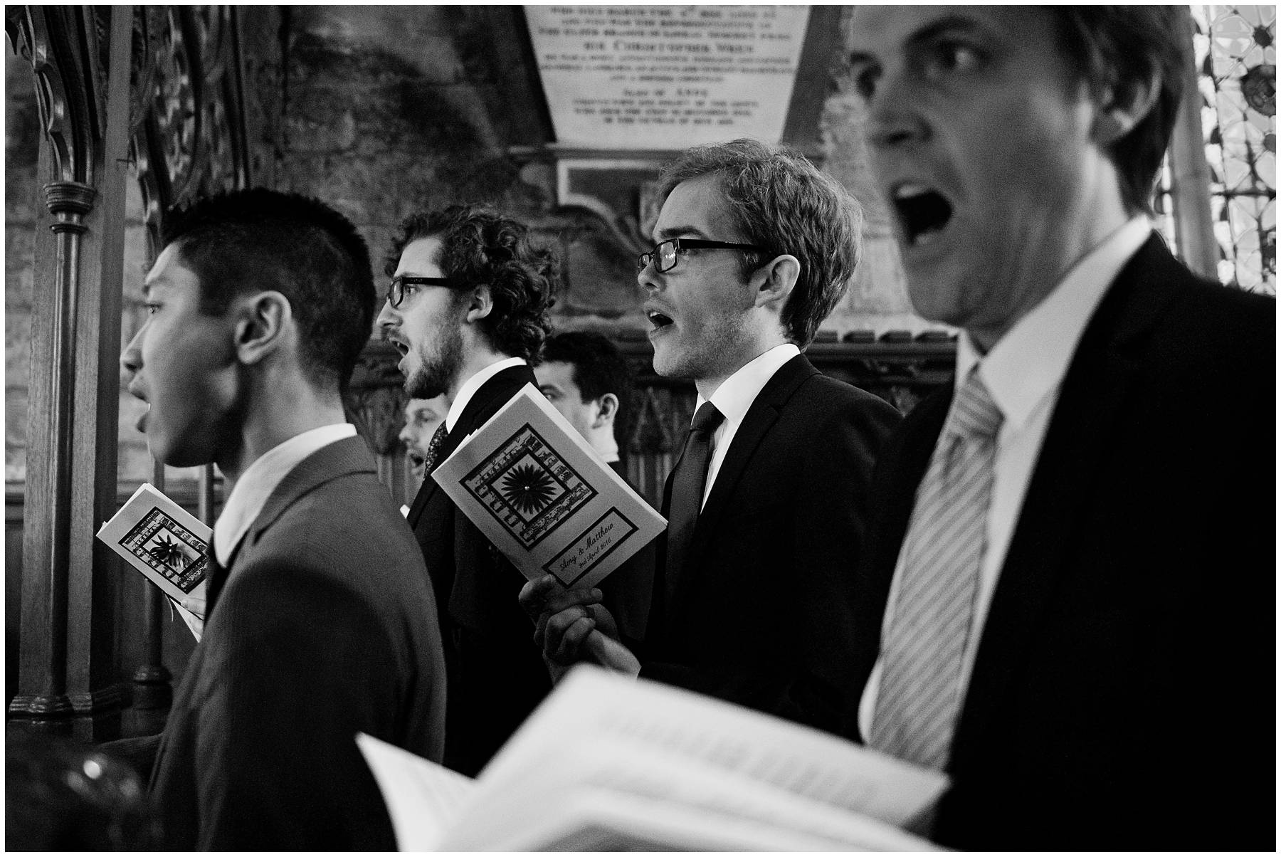 Choir singing at a wedding at Wroxhall Abbey