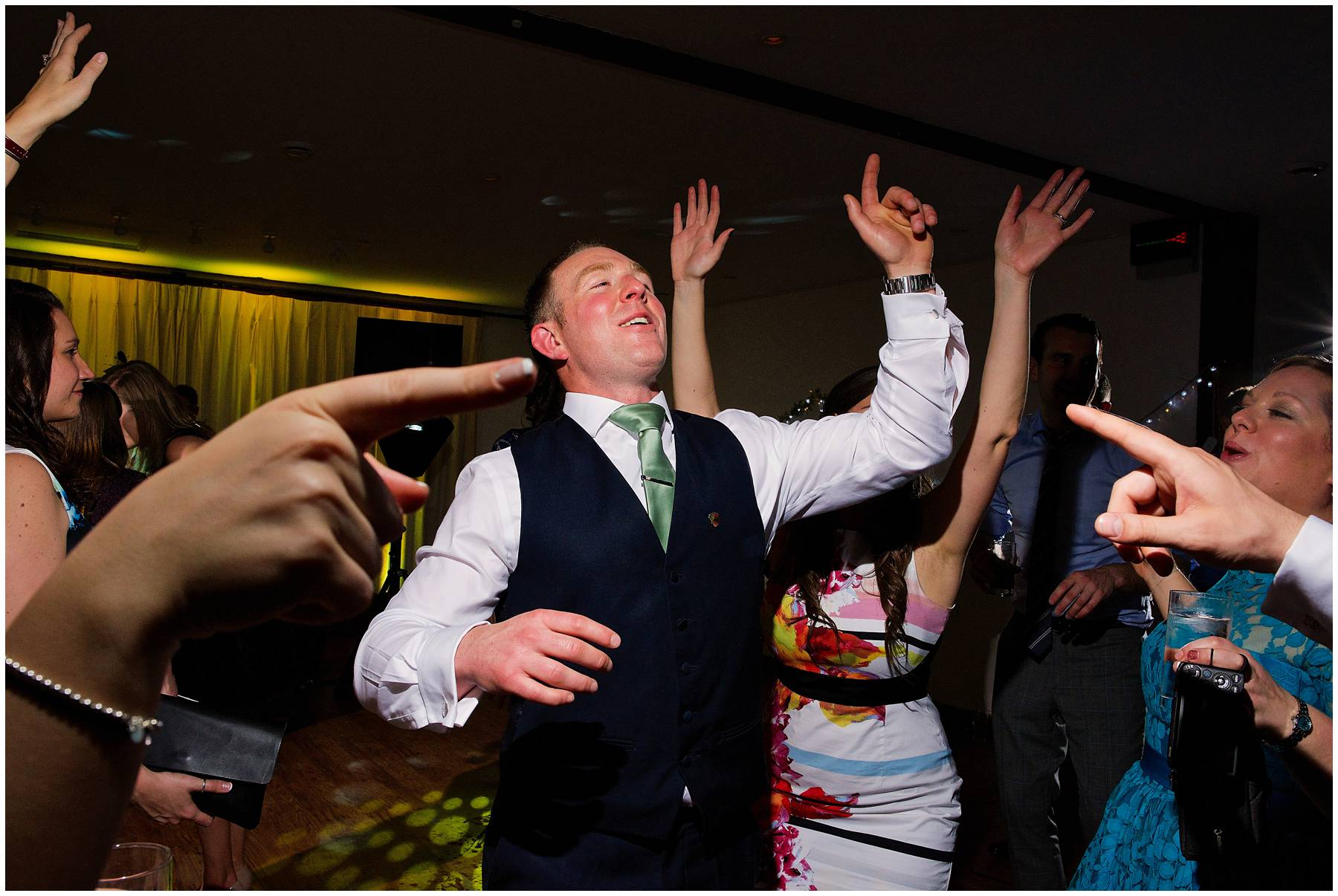 Groom dancing at Maidens Barn Wedding