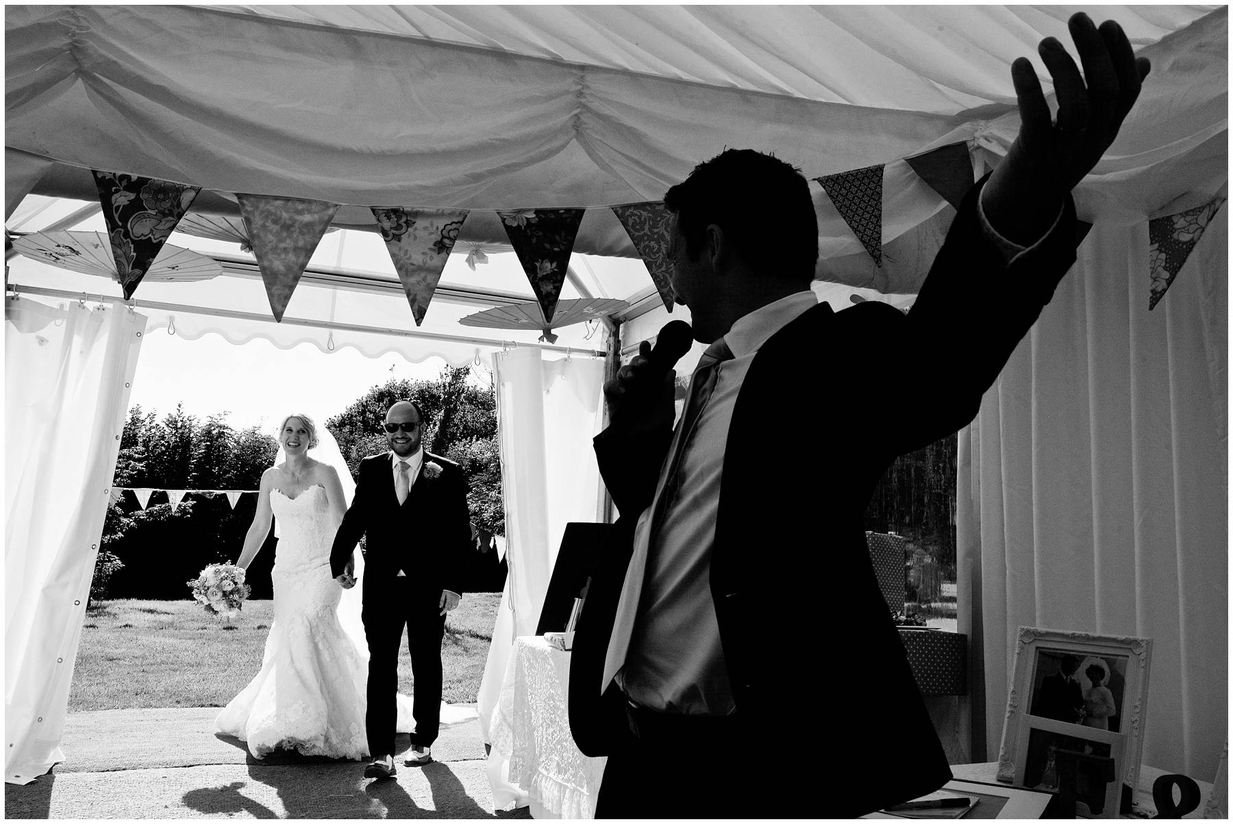 Bride and Groom enter marquee at Somerset Wedding