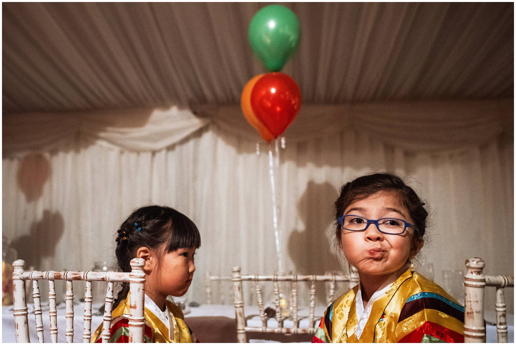 funny kid at Korean wedding