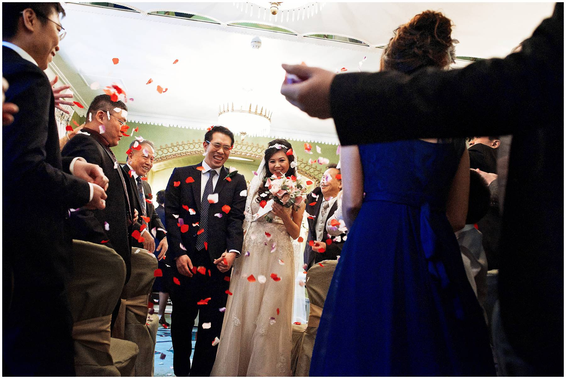 Wedding confetti at The Dorchester