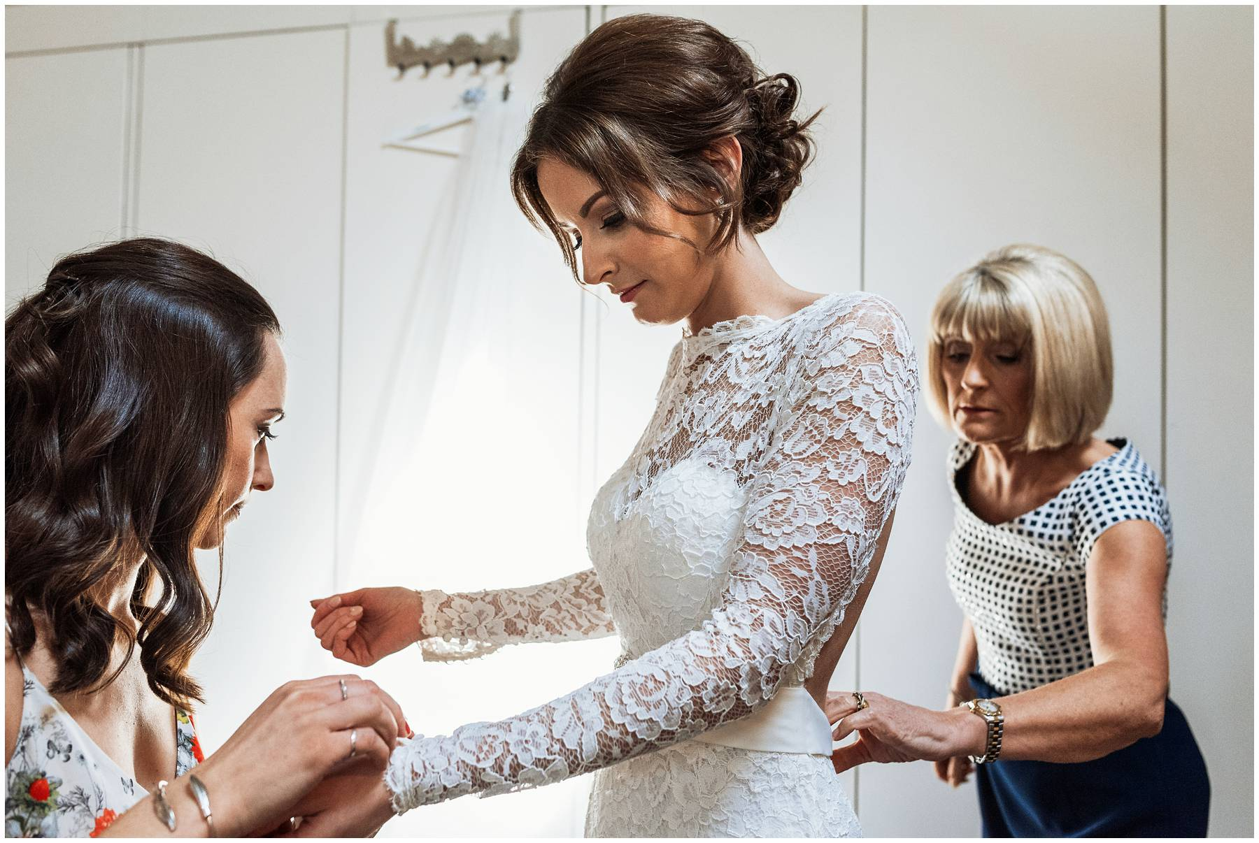 Bride getting ready for wedding at The Winding House