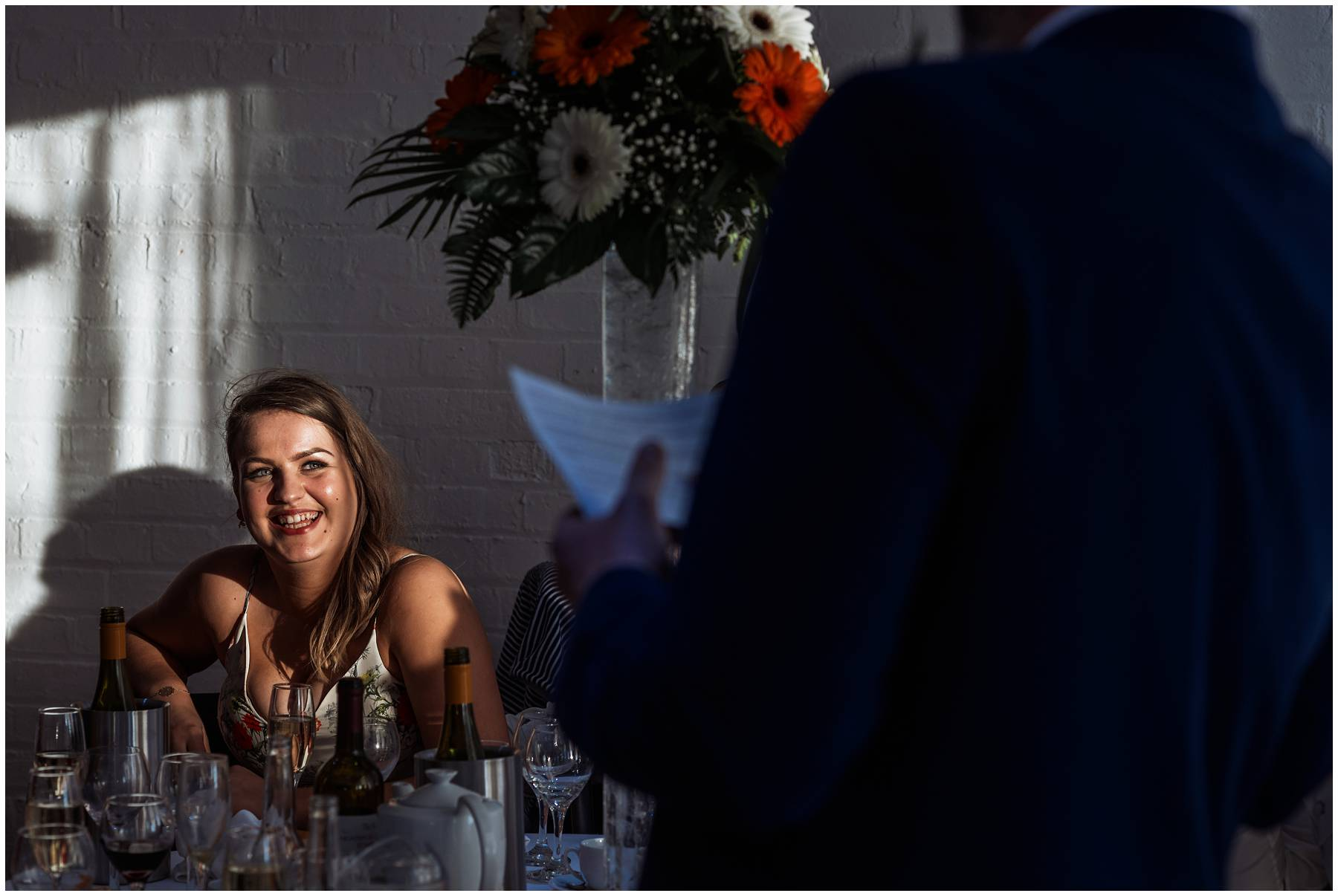 Bridesmaid laughing at best man speech in Kent