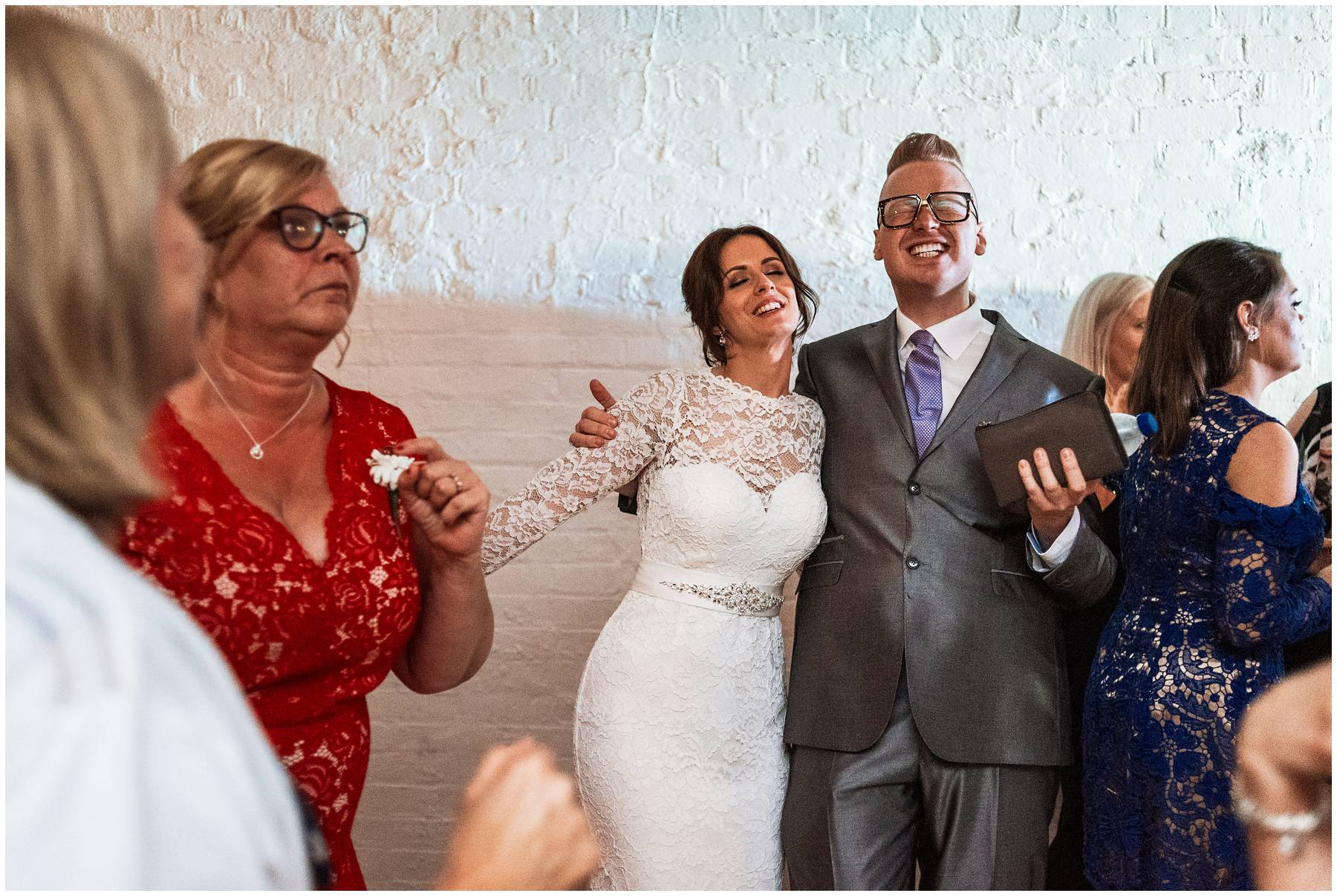Bride and her guests dancing at The Winding House in Kent