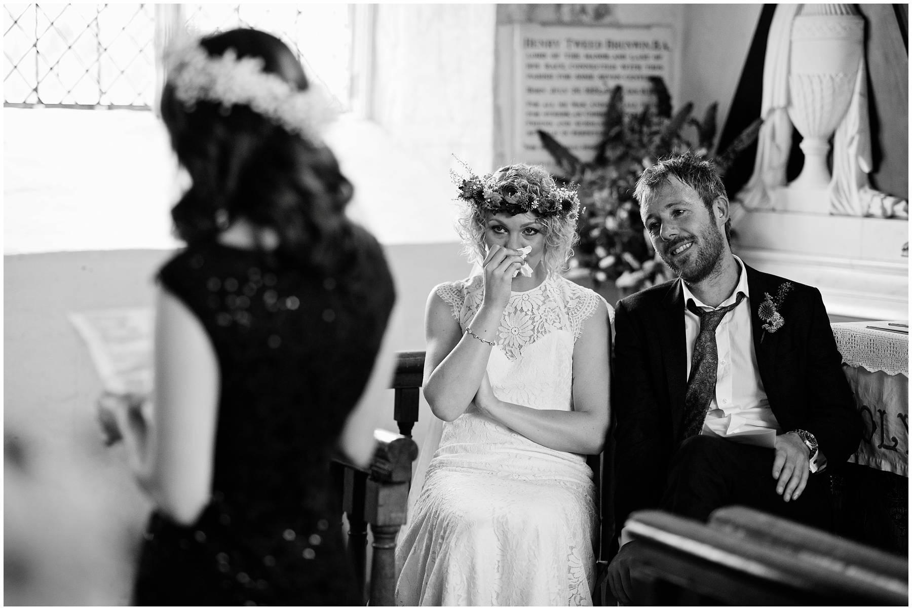 Emotional bride at Church Wedding in Essex
